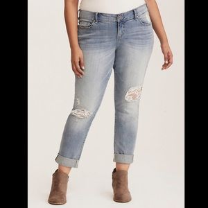 Lace Inset Boy Friend Jean - Distressed Light Wash
